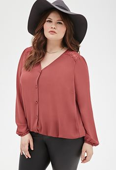 Lace Paneled Blouse   FOREVER21 PLUS - 2000136574