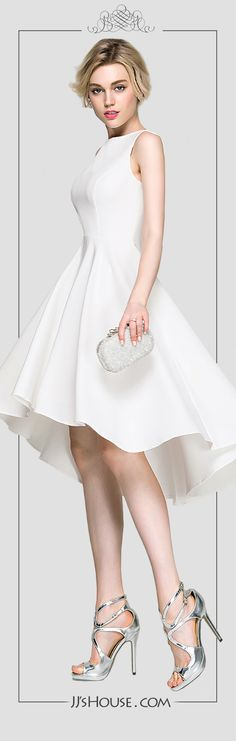 A chic little white dress, for both daily and formal occasions. #JJsHouse