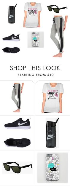 """""""Breast Cancer Marathon"""" by prettyplease-mua ❤ liked on Polyvore featuring Vintage Havana, NIKE and Ray-Ban"""