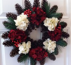 Pine Cone Wreath Christmas Wreath Flower Wreath by CraftElegance