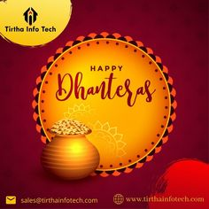 On this auspicious occasion of Dhanteras, we wish you a healthy and prosperous life. #Dhanteras #HappyDhanteras #tirthainfotech #Dhanteras2020 #Festival #DhanterasWishes #धनतेरस #धनतेरस_2020 #happydiwali2020 #ITCompany Dhanteras Wishes Images, Happy Dhanteras Wishes, Diwali Wishes, Happy Diwali, Shubh Dhanteras, Diwali Status, Happy Dussehra Wishes, Youtube Happy, Navratri Wishes