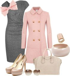 """""""Pink-n-Grey Mad Men!"""" by gemigods on Polyvore...This is probably the cutest outfit I have EVER seen. I WANT!"""