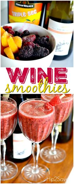 Frozen Fruit Wine Smoothie Recipe – I made these on July 3 2016. We made 2 versions, 1 without wine with OJ for my daughter and one we followed the recipe! It tasted delicious!