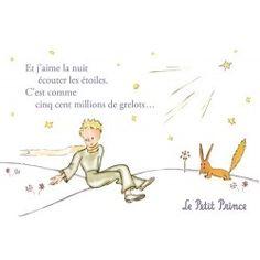 Carte postale Le Petit Prince - Et j'aime la nuit écouter les étoiles