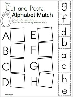 Free October Alphabet Matching Worksheet for preschool and kindergarten. There are four pages in this download which include the entire alphabet. Students cut and paste the lowercase letters next to the matching uppercase letter. This is good practice for students who are still learning the alphabet.