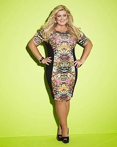 Gemma Collins Printed Panel Bodycon Dress | Simply Be