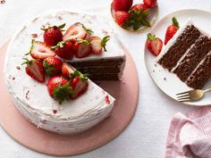 Chocolate Strawberry Cake - All Things Kitchen #cake #strawberries #dessert #birthdaycake Chocolate Strawberry Cake, Strawberry Cake Recipes, Chocolate Dipped Strawberries, Dark Chocolate Cakes, Chocolate Desserts, Valentines Day Cakes, Round Cake Pans, Let Them Eat Cake, Yummy Cakes
