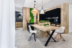 Trendy 2018: drewno w kuchni. Projekt Vigo. Fot. Artur Krupa. Metal Leg Dining Table, Table Desk, Wood Table, Desk Legs, Bench Legs, Industrial Table, Furniture Legs, Wooden Kitchen, Kitchen Interior