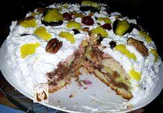 Bolo - torta mesclado com chocolate - Sem Glúten