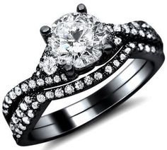 1.25CT ROUND DIAMOND ENGAGEMENT RING WEDDING SET 18K BLACK GOLD
