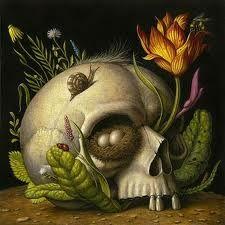 "Juxtapoz Magazine - Marc Burckhardt ""Dante's Inferno"" at Copro Gallery Art And Illustration, Illustrations, Memento Mori, Art Macabre, Sibylla Merian, Arte Popular, Vanitas, Sculpture, Skull And Bones"