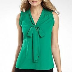 ShopStyle: a.n.a® Sleeveless Tie-Neck Blouse with Ruffles