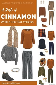Capsule wardrobe colour palette inspiration - a dash of cinnamon with 6 neutral colors