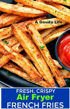 Air Fryer French Fries ~ hand cut crispy ~ A Gouda Life - Vegan Appetizers Air Fry French Fries, Crispy French Fries, Air Fryer Recipes Wings, Air Fryer Recipes Easy, Air Fryer Recipes Vegetarian, Air Fryer Dinner Recipes, Vegetarian Food, Homemade Fries, Homemade French Fries