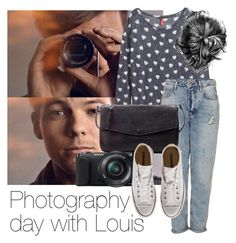 """Photography day with Louis"" by style-with-one-direction ❤ liked on Polyvore featuring H&M, Topshop, Zara, Sony, Converse, OneDirection, 1d, louistomlinson and louis tomlinson one direction 1d"