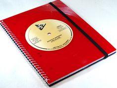 DIN A5 - Notizbuch Schallplatte upcycling, red Vinyl - ein Designerstück von Aurum bei DaWanda
