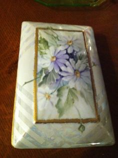 Hand Painted oblong tray with violets by JuliesPaintedChina