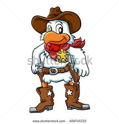 Angry cowboy chicken. chicken cartoon .