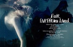 """Far, far from land""December 2013, W Magazine. Photography: Tim Walker; Model: Kristen McMenamy ;"