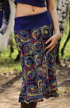 Теплая вязаная юбка крючком из мотивов схемы вязания. | Вязаные юбки.ру
