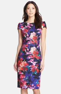 Free shipping and returns on Betsey Johnson Print Stretch Midi Dress at Nordstrom.com. Electric watercolors paint a contemporary flower print throughout a long-line sheath dress complete with girly princess sleeves.