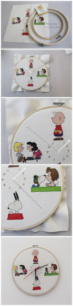 Hand Made Peanuts Character Cross Stitch Clock