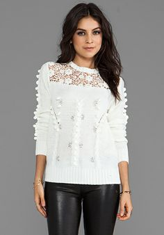 Line & Dot Prairie Embellished Sweater in White