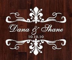 Fleur De Lis Scroll Personalized Monogram Wedding Dance Floor Decal