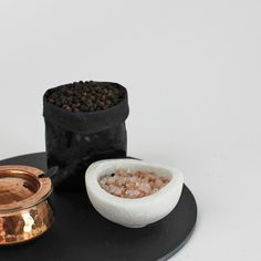 Kitchen accessories - slate plate, copper and marble spice pots