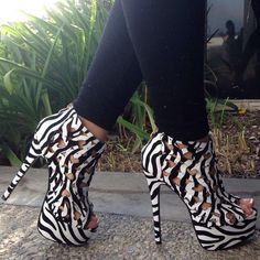 Zebra Perforated Hearts Peep Toe Booties Patent