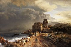Shaded Seaside Landscape with Figures by Oswald Achenbach, Oil on canvas