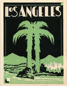 Art Deco Los Angeles print with Palm Tree available in green, orange, and pink. Vintage Los Angeles Art by LaurelCanyonDreaming  #losangeles