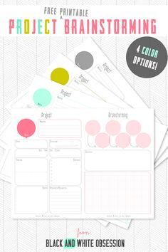Homebrewing organization Free Project Brainstorming Printable in four colors: Coral, Mint, Gold, and Gray Planner Free, Planner Pages, Printable Planner, Happy Planner, Free Printables, Binder Planner, Teacher Planner, Planner Stickers, Home Binder