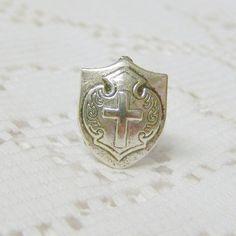 Heraldic Shield Tie Tack Lapel Pin - Medieval Knight - Crusades Cross - Coat of Arms - Royal Crest - Renaissance Wedding