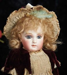 The Lifelong Collection of Berta Leon Hackney: 37 Beautiful French Bisque Portrait Bebe by Emile Jumeau in Fine Original Costume