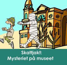 Lös Mysteriet på museet - en superrolig skattjakt  för barnen. Låt barnen kasta sig ut i en spännande jakt på nycklarna  till mumiens låda och på vägen lösa gåtor och utmaningar i museets  spännande miljö med dinosaurier, spöken, smågalna professorer och mycket  mer... Skattjakten är perfekt som barnkalaslek! #lekar #barnkalas #kalaslekar #skattjakt #detektivkalas #mysterie Grape Vines, Dinosaurs, Vineyard Vines, Vines