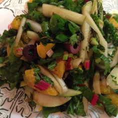 Fennel Apple Salad | Swiss chard is mixed with a vibrant combo of fennel, apple, orange, and kalamata olives.
