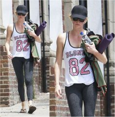 Charlize Theron wearing our Junk Food Blondie Tee!