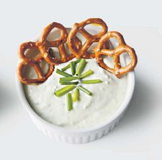 Garlic and chive dip serve this with an assortment of raw vegetables
