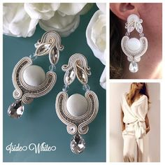 Veronique Creazioni Soutache Earrings, Ring Earrings, Shibori, Earring Trends, Natural Stones, Earring Set, Beaded Jewelry, Jewerly, Bride