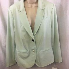 New Calvin Klein 2 Button Blazer Suit Jacket Light Green Women Plus Size 16W #CalvinKlein #Blazer