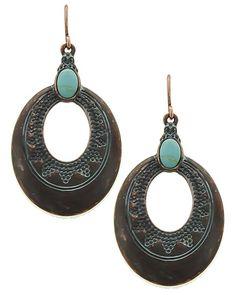 Patina / Turquoise Stone / Lead&nickel Compliant / Metal / Fish Hook / Oval / Dangle / Earring Set