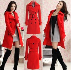 NWT RED DOUBLE BREASTED WOMENS TRENCH LOLITA PEACOAT VICTORIAN WINTER JACKET *