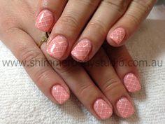 Gel nails, apricot nails, fishnet nails, short nails, konad stamping nail art by Shimmer Body Studio.