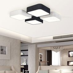 79.50$  Watch now - http://alizzc.worldwells.pw/go.php?t=32686980626 - Simple DIY LED Ceiling Light Fixture Living Room Bedroom Black White Ceiling Mounted Lamp Modern 79.50$