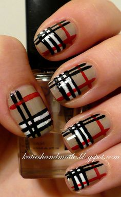 burberry nails. Would definitely have to get this manicure in shellac!