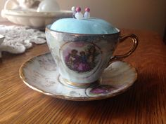 New Vintage Small Tea Cup Pin Cushion Blue Fabric Trina Made Japan China Sewing #Unbranded