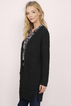 Cardigans, Tobi, Black Every Which Way Open Cardigan