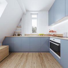 Wandfarbe Weiß   Fehler, Welche Sie Bei Der Anwendung Weißer Farbe Nicht  Begehen Dürfen. Blaue KüchenschränkeWandfarbe WeißHolzbodenKüchen ...