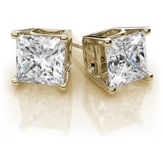 Princess Cut Diamond Stud Earrings in 18k Yellow Gold (3.00 ctw) SI... ($15,999) ❤ liked on Polyvore